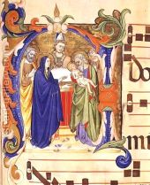 Ms-572-F.88r-Historiated-Initial-$27n$27-Depicting-The-Presentation-In-The-Temple-From-An-Antiphon-From-Santa-Maria-Del-Carmine,-Florence
